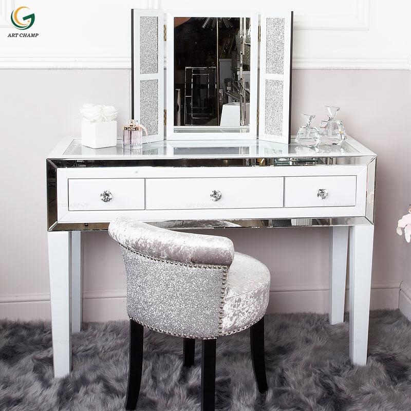 Modern Bedroom Furniture Luxury Model, Mirrored Glass Bedroom Furniture